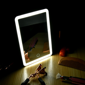 Led Vanity Touch Screen Makeup Mirror Vanity Magnifying Lights 180 Degree Rotation Table Countertop Cosmetics Bathroom Mirror
