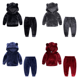 Wholesale INS Kids Tracksuits Gold Velvet Girls Sportwears Boy Hoodie Tops Pants Sets Baby Boys Clothing Sets Colors Optional DHW1834