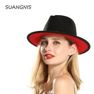 Wholesale Winter Autumn Imitation Woolen Women Ladies Fedoras Top red and black splice Jazz Hat European American Round Caps Bowler Hats