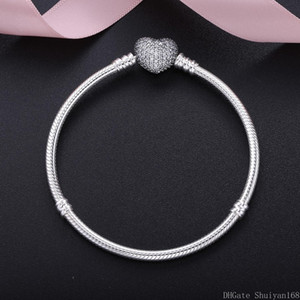 Wholesale 925 Silver Plated Cubic Zircon Heart Charm Bracelets Fit Pandora European Bead Statement Jewelry Bangle for Women Men Christmas Gift