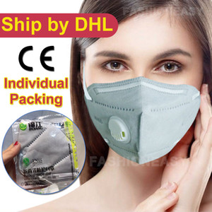 Wholesale Folding KN95 FFP2 Mask Anti dust Flu Smoke Respirator Face N95 Mask Protection with Self priming Filter With Retail Package DHL Free