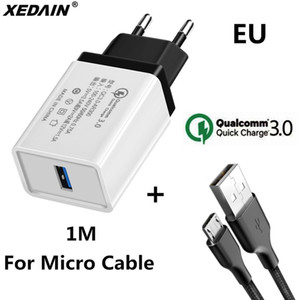 Wholesale 18W EU USA Quick Charge QC USB Phone Chargers Cable Fast Charger Wall Charger for Samsung Xiaomi Huawei Android Micro Cables