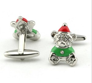 Wholesale 5Pairs Green Novelty Santa Christmas Bear Cufflinks Enamel Crystal Cuff Links Xmas Gift Men s Jewelry Accessory