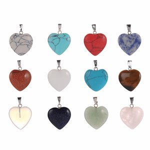 Wholesale New Natural Love Heart Pendant Chakra Quartz Gem Stone pendulum Pendant DIY Necklace Charm Healing Reiki Beads For Women Jewelry