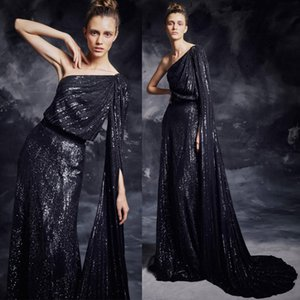 2019 Shiny Sequined Evening Dresses One Shoulder Sexy Sheath Black Prom Gowns Floor Length Formal Party Dress on Sale