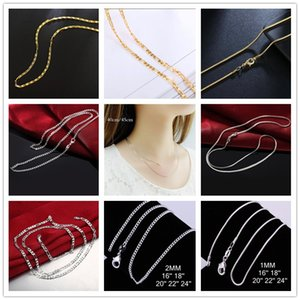 Wholesale Big Promotion Authentic Sterling Silver Chain Necklace with Lobster Clasps fit Men Women Pendant Designs Inch