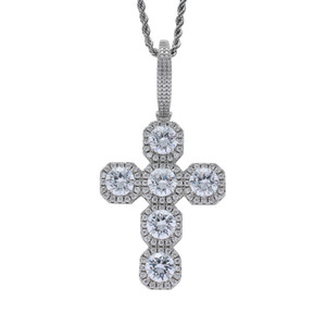 Wholesale High Quality Hip Hop Jewelry Iced Out Zircon mm Big Cross Pendant with Large Clasp Rope Chain Necklace
