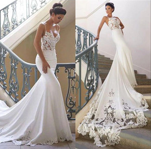 Wholesale 2020 Spaghetti Straps Mermaid Lace Wedding Dresses Fit Vestidos De Marriage Garden Bridal Gowns Sexy Vestidos