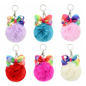 Cute Pompom Jojo Siwa Keychain Wool Ball Keyring for Children Girls Backpack Pendant Key Chain Women Car Styling Bags Charm Jewelry 10pcs