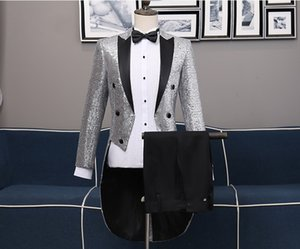 Wholesale Men s Adult Sequined Swallowtail Clothes Two piece Suit Variety Night Club Bar Magician Performing Stage Chorus Costume