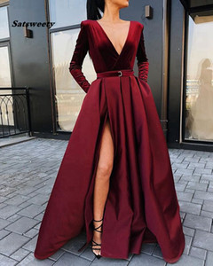 2020 Deep V Neck Satin Prom Dresses A Line Long Sleeves Velvet Ruched Evening Dresses Split Floor Length Formal Party Evening Gowns