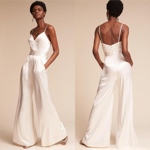 Wholesale Jumpsuit Bridesmaids Summer with Pockets And Spaghetti Neck Dramatic Beach Wedding Guest Dress Wide Leg Pants Zipper Back