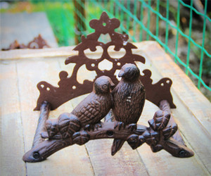 Wholesale reel hoses resale online - Hose Holder Cast Iron Birds on Tree Decorative Pipe Reel Rope Hanger Garden Hose Reel Wall Mounted Hose Organizer Stand Antique Brown Decor