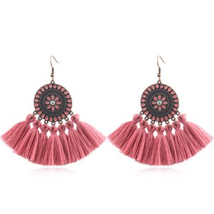 Wholesale 2019 High Quality Fashion Bohemian Craetive Tassel Earrings Alloy Earring Trend Round Fringed Earrings Women Charm Jewelry Accessories M551A