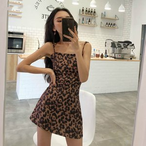 Wholesale Dress Women Chic Spaghetti Strap Leopard A line Korean Style Womens Retro Above Knee Mini Empire Elegant Temperament Drop Shipping