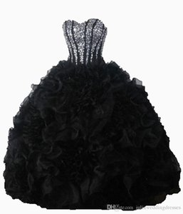 Wholesale Sleeveless Black Ball Gown Quinceanera Dresses with Crystals Sweetheart Organza Sweet Coming of Age Debutante Dresses