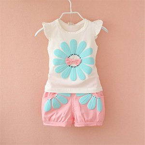 Wholesale Baby Cartoon Floral Suits Girls Sleeveless Printed Bow Pullover Elastic Shorts Clothing Sets Summer Fashion Casual Vest Refreshing Outfits