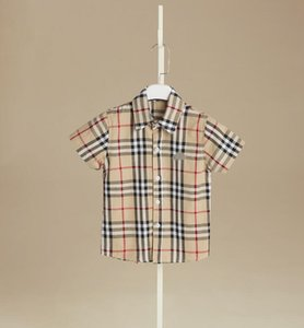 Wholesale IN stock color Hot sale new boy summer style England wind plaid shirt high quality cotton Handsome lapel shirt