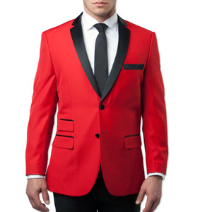 Wholesale red tuxedos resale online - 2019 Fashion Red Wedding Tuxedos Slim Fit Groom Suits Side Vent Custom Made Groomsmen Prom Party Suits Jacket Pants Tie Custom Made