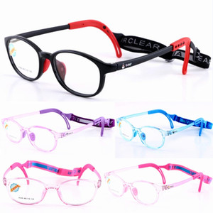 Wholesale New Style Kids Silicone Glasses Frame with Elastic Cord Kids Eyewear Frame with Head Band Strap Cord Children Glasses Safety Retainer