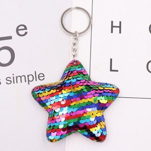Wholesale MOQ Girls Fashion Jewelry Keychains Cute Cat Unicorn Fish Bear Sequins Pendant Key Ring For Women Bags Car Decoration