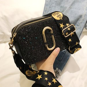 Wholesale 2019 Fashion New Ladies Sequin Square bag High quality PU Leather Women s Designer Luxury Handbag Black Shoulder Messenger bag