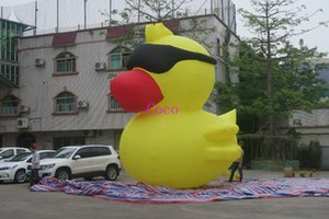 Wholesale 5m high inflatable yellow duck with sun glasses giant inflatable duck cartoon for sale