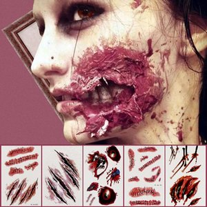 Wholesale zombie makeup resale online - Halloween Party Decoration Zombie Scars Tattoos with Fake Scab Bloody Makeup Halloween Props Wound Scary Blood Injury Sticker Q