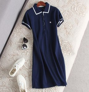 Wholesale Sale summer new ladies age reduction leisure sports solid color lapel pearl cotton short sleeved dress Polo skirt shirt skirt
