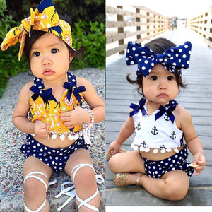 Ins hot sale Summer 3pcs set baby girl clothes Girls Clothing Sets Girls Outfits tank +shorts + Headbands Newborn suit Infant Clothing A1871