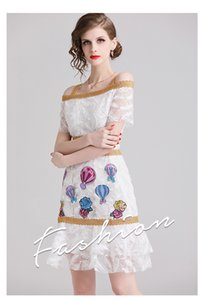 Wholesale 2019 Fashion Elegant Lady and Girl s Embroidery Dresses Sexy Sashes Neck Short Sleeve A Dress Nice Summer Skirts