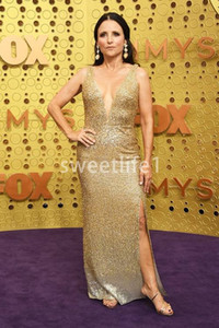 2019 Emmy Awards Gold Sequins Celebrity Dresses V Neck Sexy Side Split Mermaid Sweep Train Formal Occasion Evening Prom Dresses Custom Made on Sale