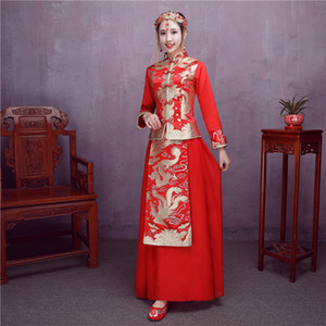 Wholesale Red suit new Chinese bride toast clothing cheongsam wedding