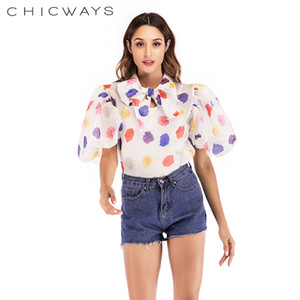 Wholesale Chicways Floral Print Puff Sleeve Shirts Women Fashion Design Bow Neck Organza Tops Temperament Ladies Blouse Y19043001
