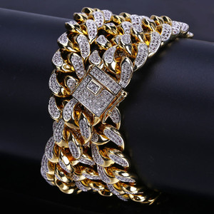 ingrosso collana chain 14 oro-Hip hop Men Cuban Big Gold catena Mm Stereo Micro zircone Collana Water Wave catena vendita calda in Europa e in America