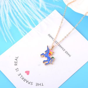 Wholesale New Rainbow Enamel Unicorn necklaces with Gift card Cute horse animal Pendant Gold Silver chains For women Fashion Jewelry in Bulk