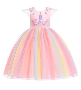 Wholesale 2019 new Fashion kids designer clothes Girls Dresses Unicorn princess dress floral Childrens Dresses Rainbow long Formal Dresses A2386