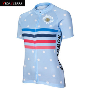 2019 women cycling jersey blue girl lady bike wear clothing Lovely Maillot ciclismo simple flower pattern Beautiful gift lucky Fascinating