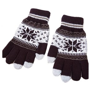 Wholesale New Popular Warm Winter Snowflake Full Finger Mittens Mitaine Luvas Thick Wool Knitted Women Glove
