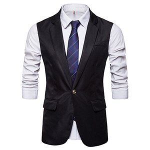 Wholesale Hot selling New Arrival Casual Slim Fit Single Button Mens Vest Suit Gentleman Wedding Prom Dinner Waistcoat Blazers