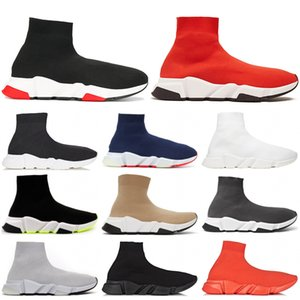 Wholesale 2019 Speed Trainer Luxury Designers Shoes Party Black White Red High Sock Shoes Mens Womens Fashion Boots Triple Black Casual Shoes