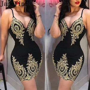 JaneVini Sexy Black Plus Size Cocktail Dresses Gold Appliques Coctailjurk Spaghetti Straps Short Mini Tight Fitted Women Party Dress