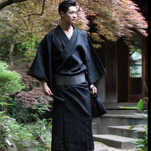 Wholesale Traditional Japan Kimono Yukata Mens Cotton Dressing Gown Male Lounge Robes with Belt Plus Size Summer Pajamas set A52801