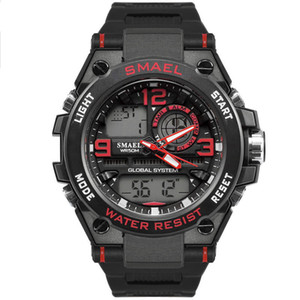 BRW New fashion Casual Male Watch SMAEL Brand black Color Dual display LED 50M Waterproof Dive Men Silicone Sport Watch Relogio 1603 on Sale