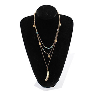 Wholesale Feather New Hot Fashion Copper Beads Sequins Multilayer Long Necklace Metal Turquoises Pendant Chokers Necklaces Women Jewelry