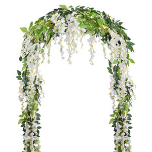 Wholesale Artificial Fake Wisteria Vine Rattan Hanging Garland White Silk Flowers String Home Party Wedding Decoration Outdoor Arch Decor