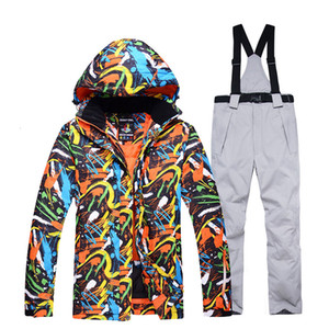 Wholesale Men's and Women's Snow Clothing Snowboarding suit sets Waterproof Windproof Winter Wear Mountain Ski Jacket and strap Snow pant T190920