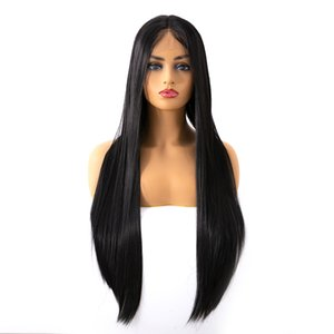 Wholesale Factory Euro American hot selling inches black long straight lace front synthetic hair wigs for women