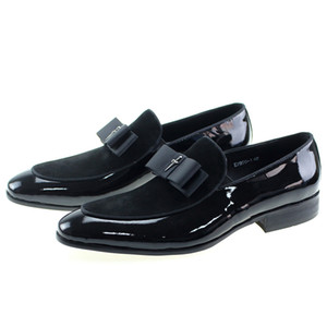 Wholesale Handmade Genuine Patent Leather And Nubuck Leather Patchwork With Bow Tie Men Wedding Black Dress Shoes Men s Banquet Loafers