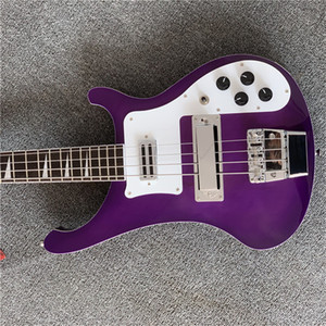 Free Shippingshark tooth inlay purple 4 string Electric BASS guitar Guitarra all color Accept